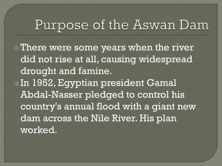 Purpose of the aswan dam