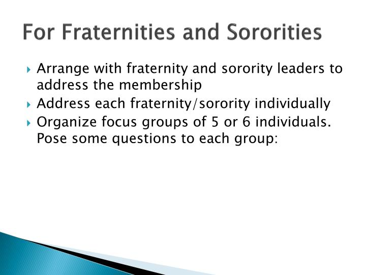 For Fraternities and Sororities