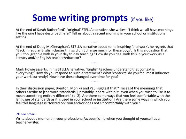 Some writing prompts
