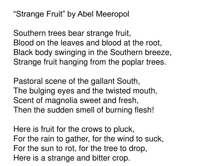 """Strange Fruit"" by Abel Meeropol"