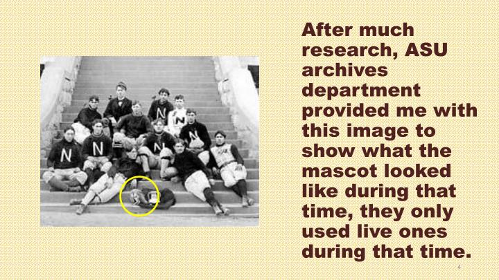 After much research, ASU archives department provided me with this image to show what the mascot looked like during that time, they only used live ones during that time.