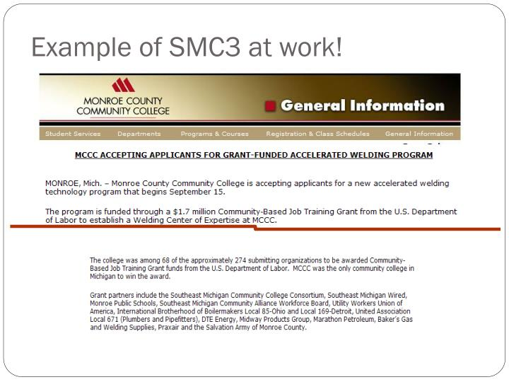 Example of SMC3 at work!