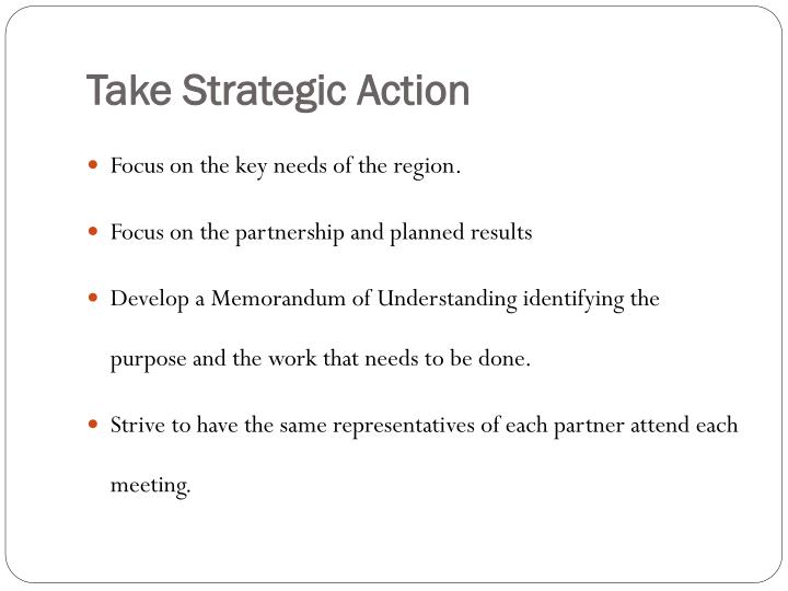 Take Strategic Action