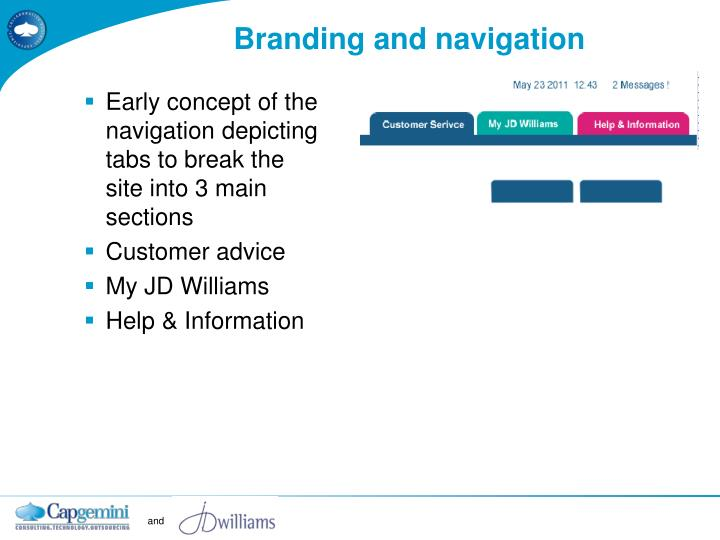 Branding and navigation