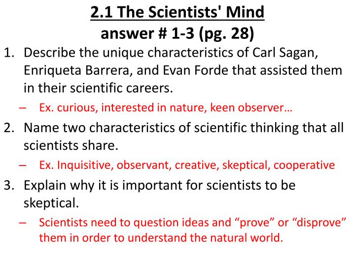 2 1 the scientists mind answer 1 3 pg 28