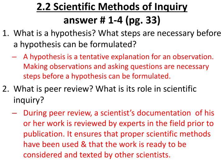 2.2 Scientific Methods of Inquiry
