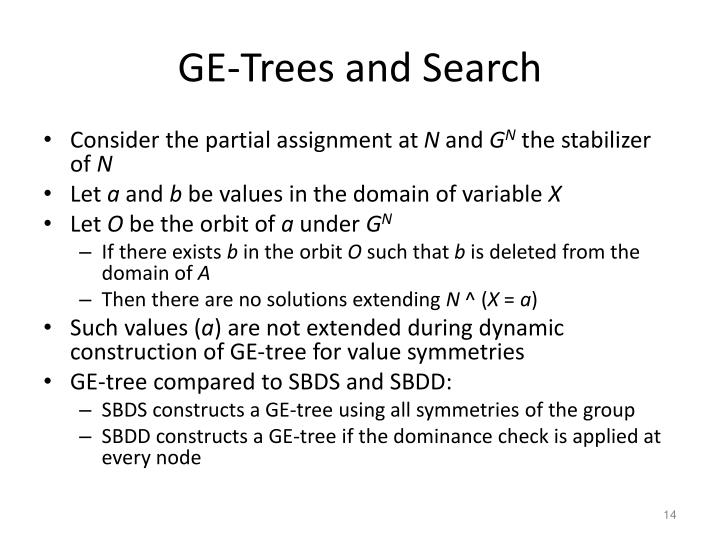 GE-Trees and Search