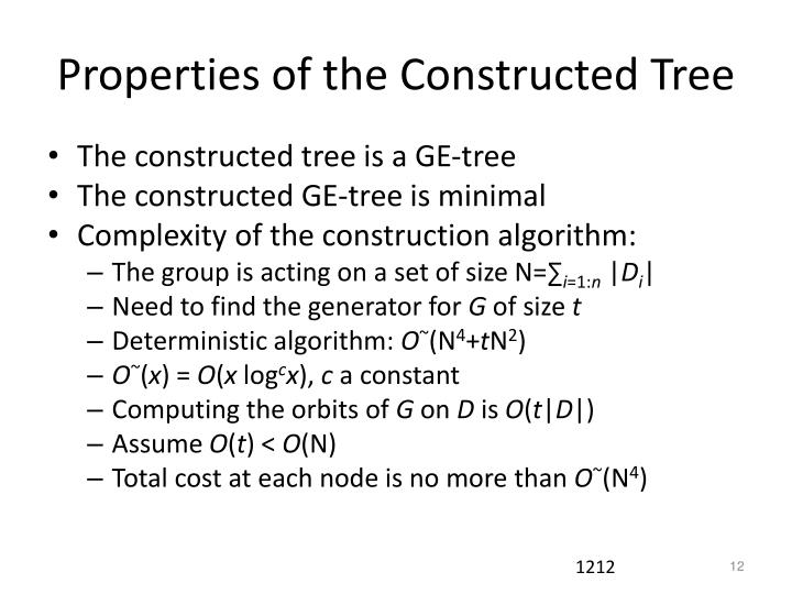 Properties of the Constructed Tree