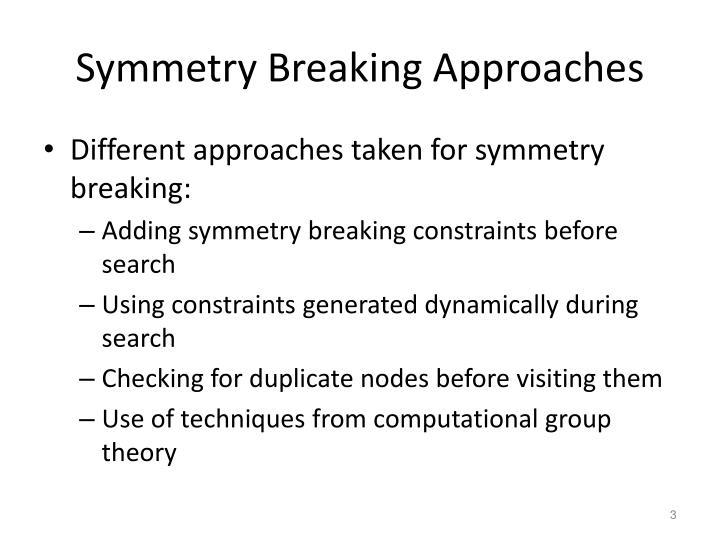 Symmetry Breaking Approaches