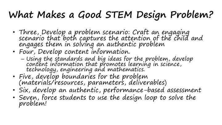 What Makes a Good STEM Design Problem?