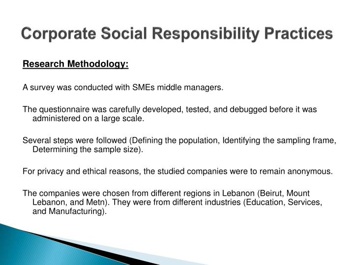 Corporate Social Responsibility Practices