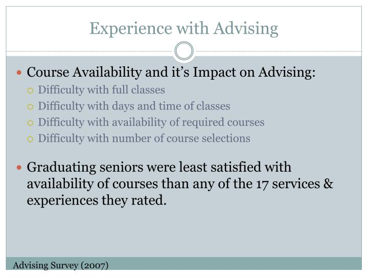 Experience with Advising
