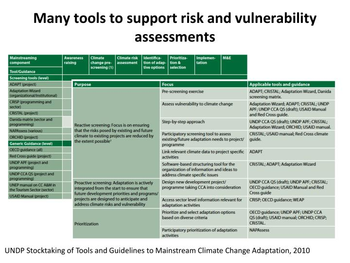 Many tools to support risk and vulnerability assessments