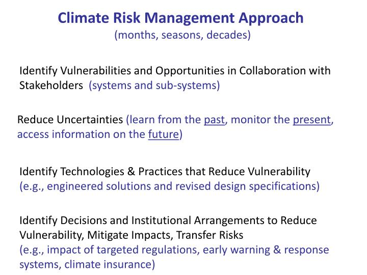 Climate Risk Management Approach