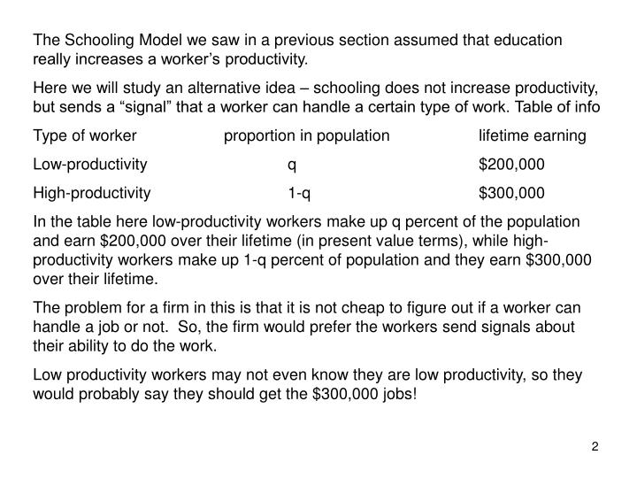 The Schooling Model we saw in a previous section assumed that education really increases a worker...