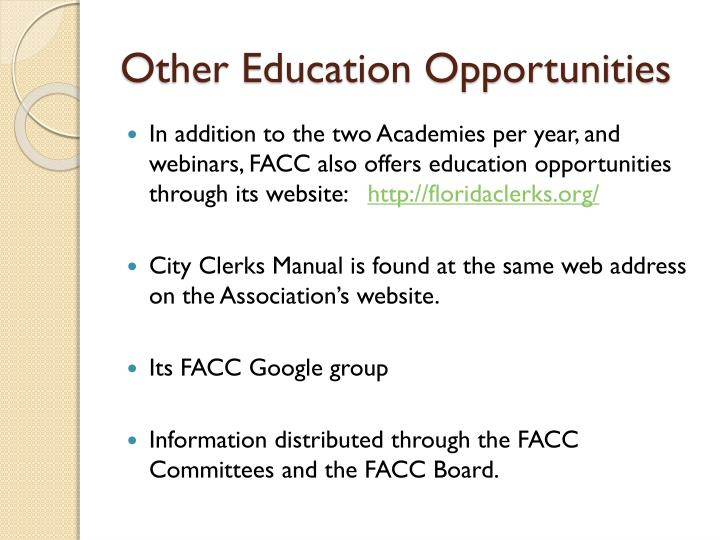 Other Education Opportunities