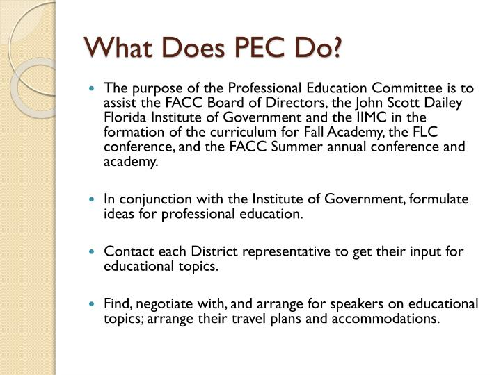 What Does PEC Do?