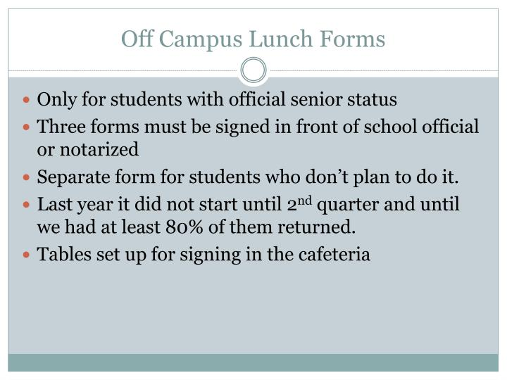 Off Campus Lunch Forms