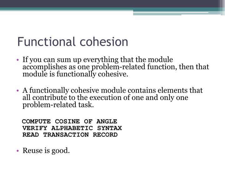 Functional cohesion