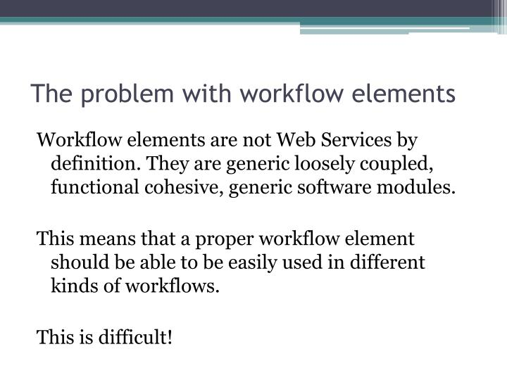 The problem with workflow elements