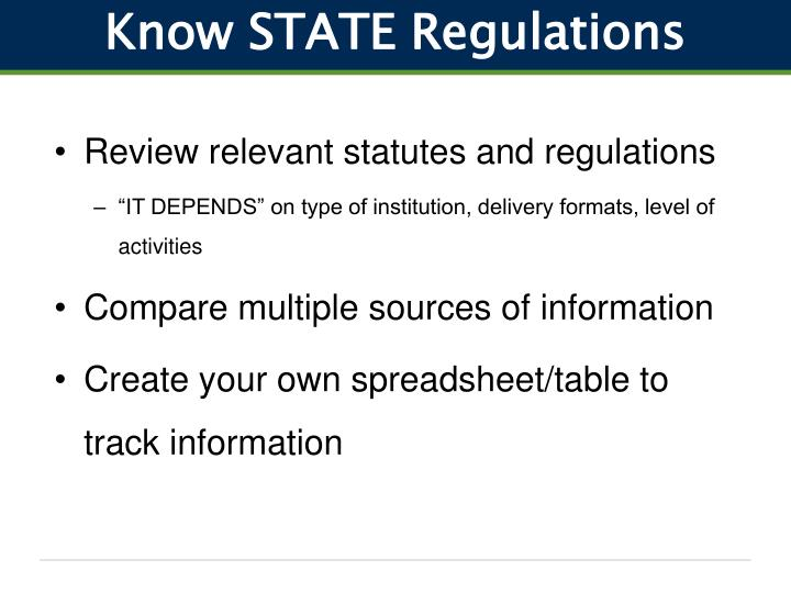 Know STATE Regulations