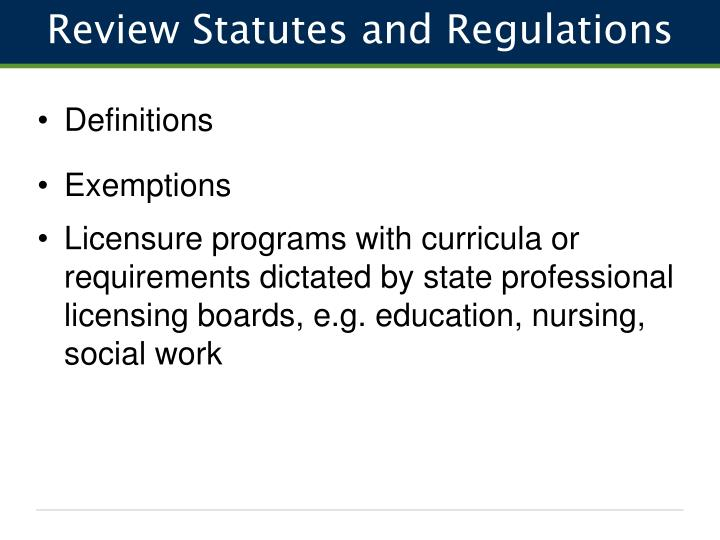 Review Statutes and Regulations