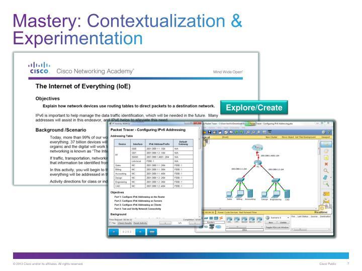 Mastery: Contextualization & Experimentation