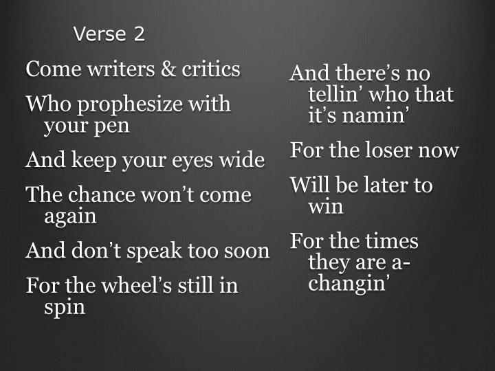 Come writers & critics