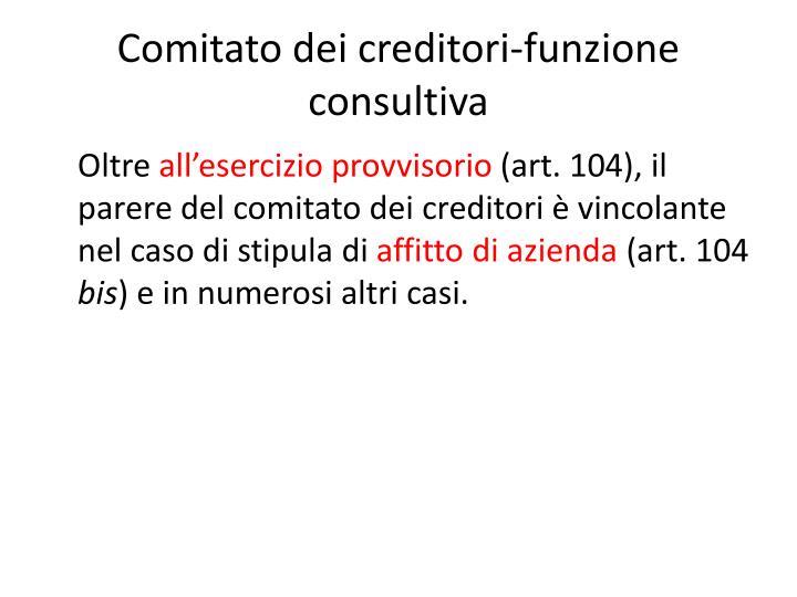 Comitato dei creditori-funzione consultiva