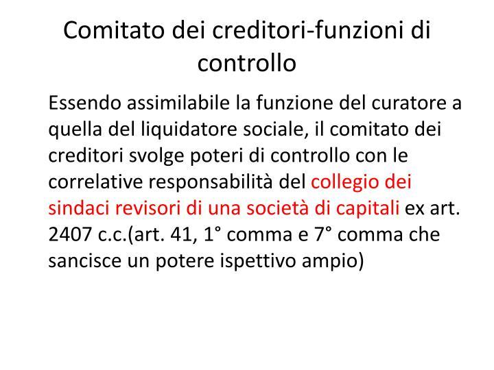 Comitato dei creditori-funzioni di controllo