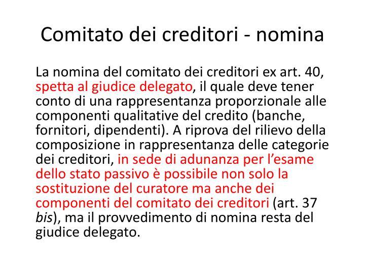 Comitato dei creditori - nomina