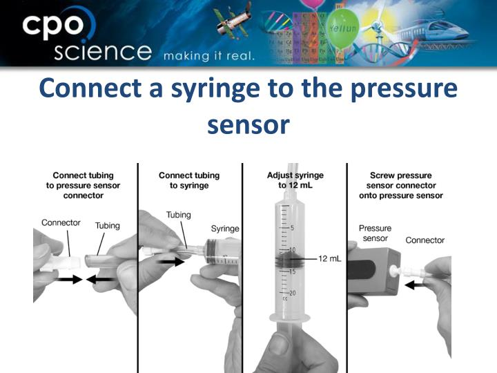 Connect a syringe to the pressure sensor