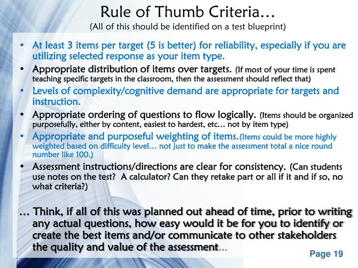 Rule of Thumb Criteria…