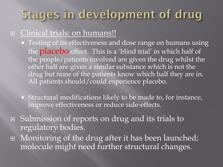 Stages in development of drug