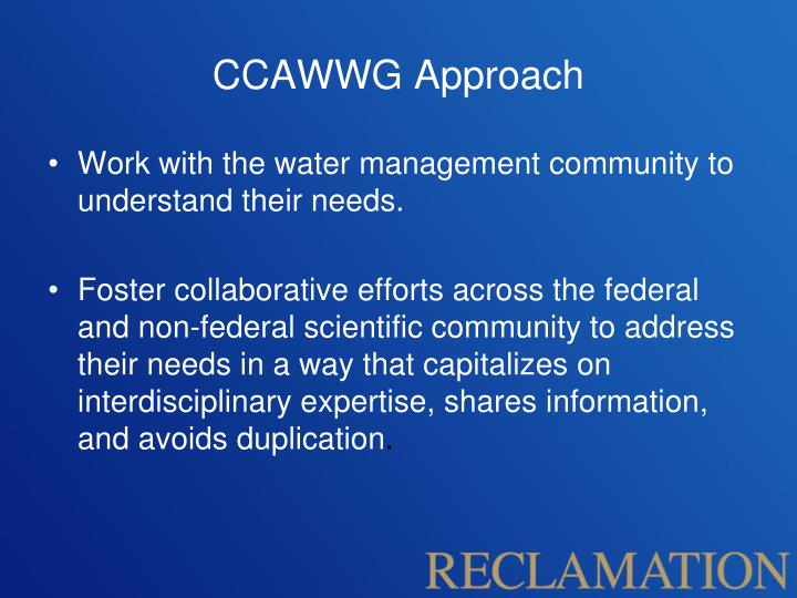CCAWWG Approach