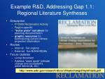 example r d addressing gap 1 1 regional literature syntheses