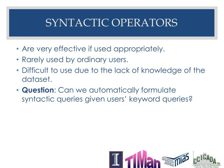 Syntactic Operators