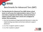 benchmarks for advanced tiers bat