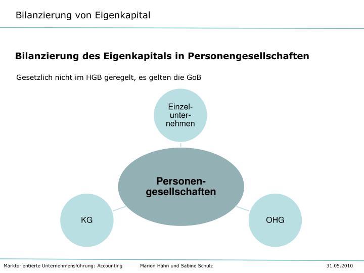 Bilanzierung des Eigenkapitals in Personengesellschaften