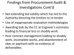 findings from procurement audit investigations cont d