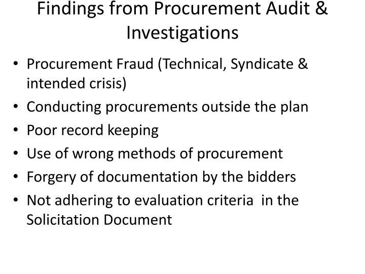 Findings from Procurement Audit & Investigations