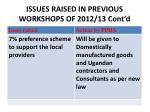 issues raised in previous workshops of 2012 13 cont d
