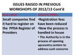 issues raised in previous workshops of 2012 13 cont d1