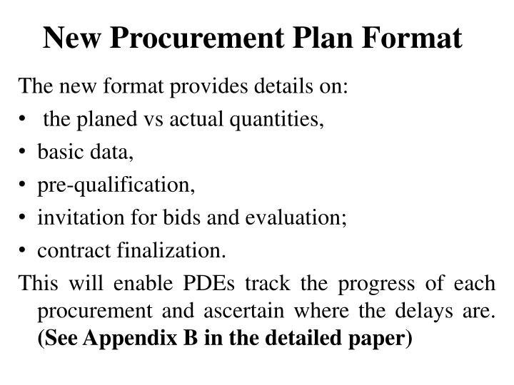 New Procurement Plan Format