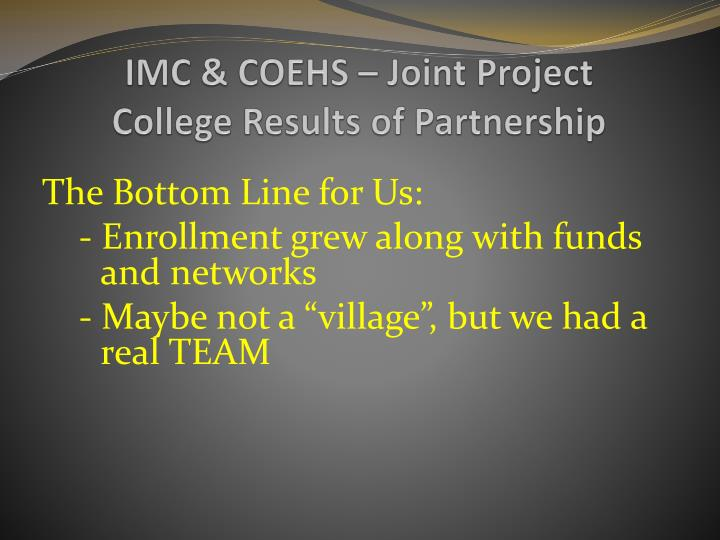 IMC & COEHS – Joint