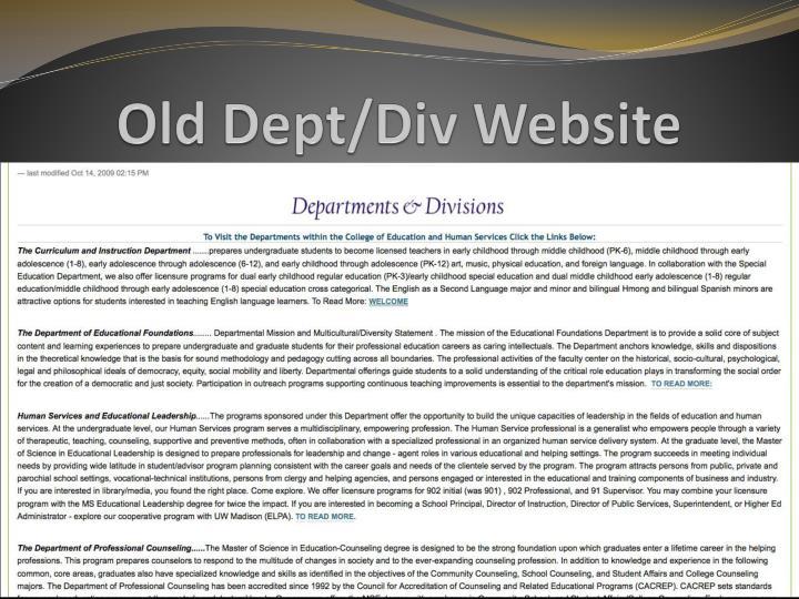 Old Dept/Div Website