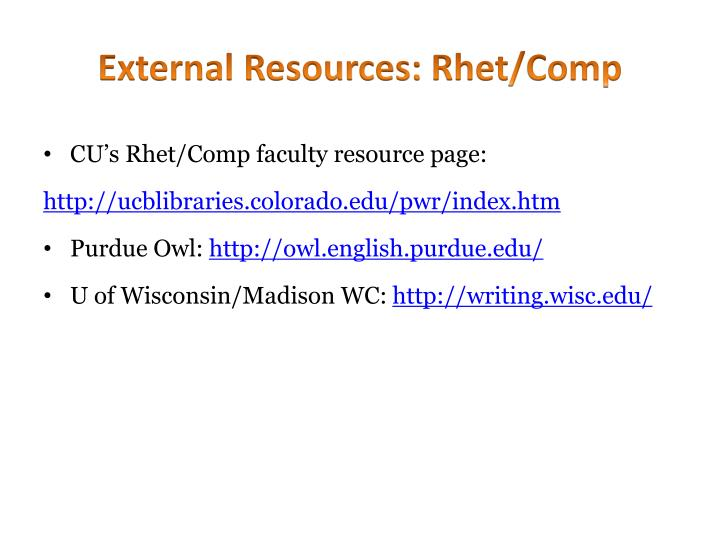 External resources rhet comp
