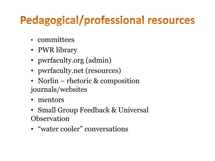 Pedagogical professional resources