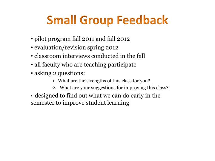 Small Group Feedback