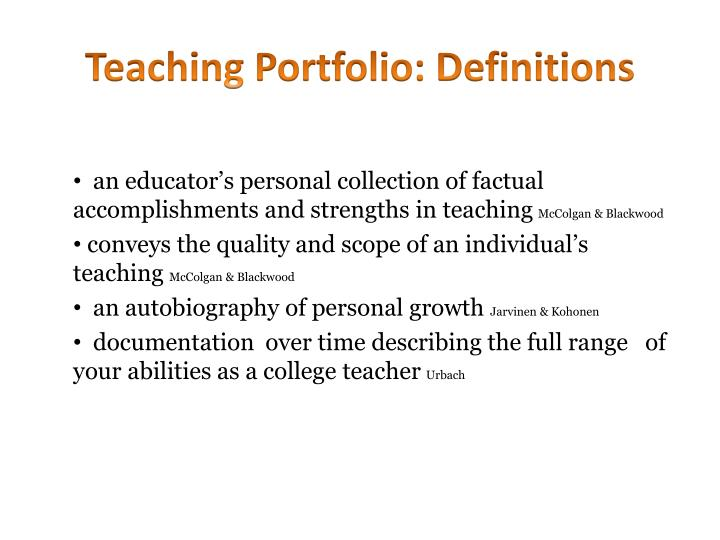 Teaching Portfolio: Definitions